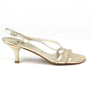 Stuart Weitzman Gold Slingback Sandals Kitten Heel